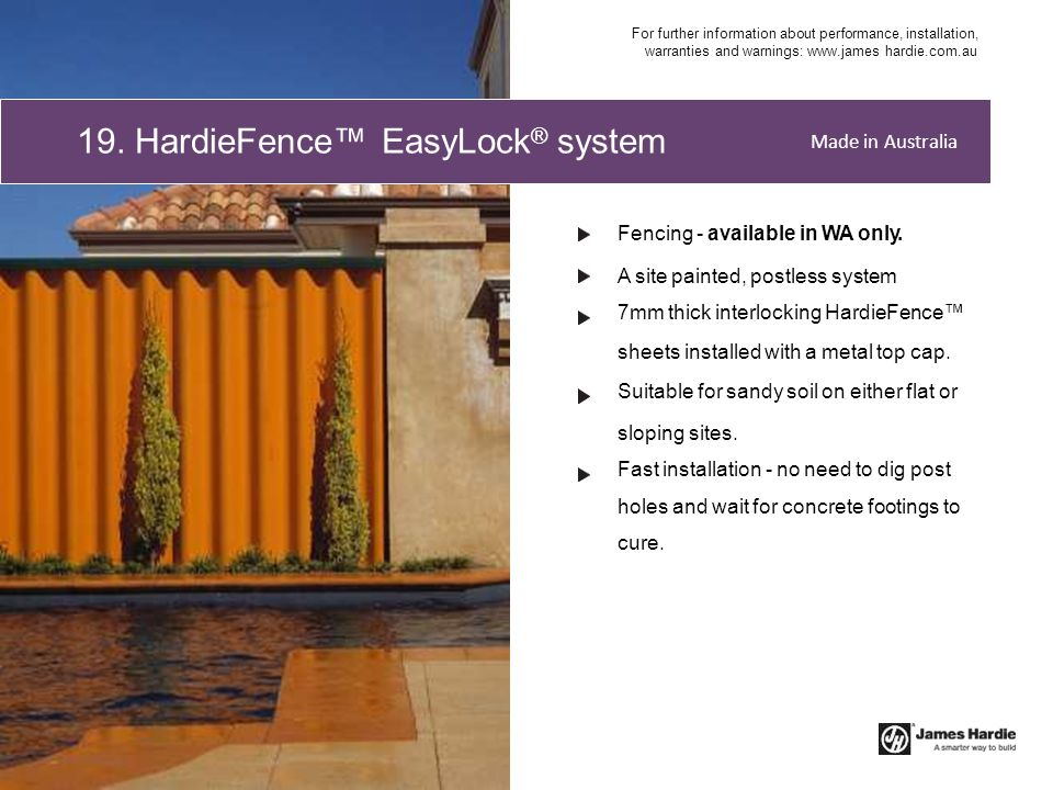 19. HardieFence™ EasyLock® system