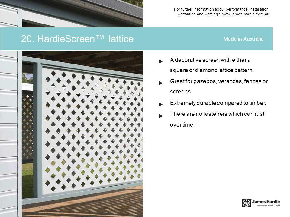 20. HardieScreen™ lattice