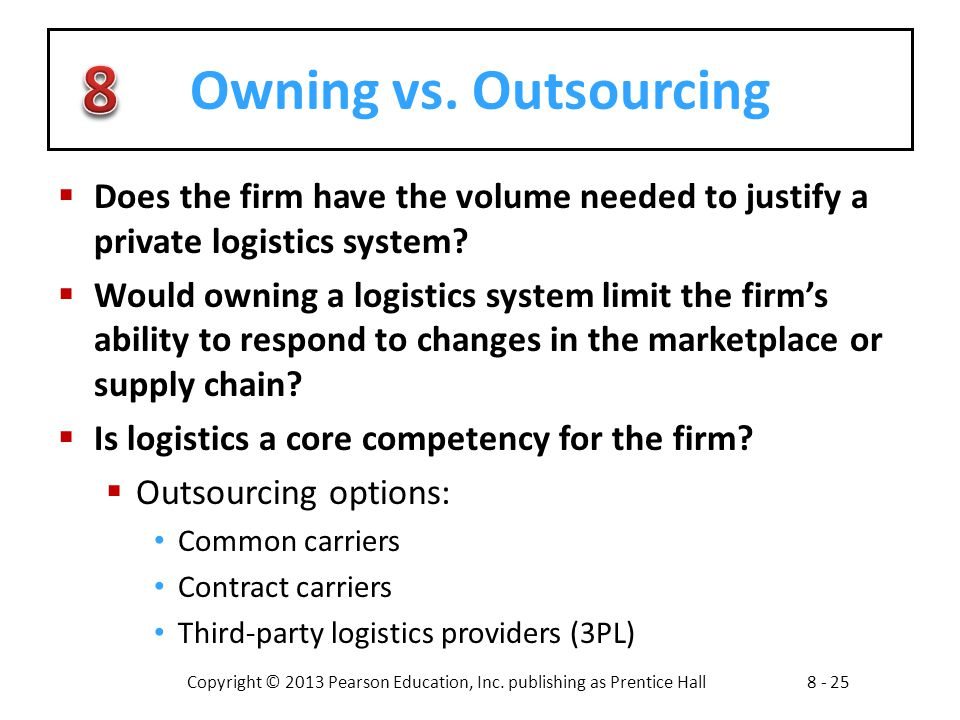 Owning vs. Outsourcing Does the firm have the volume needed to justify a private logistics system