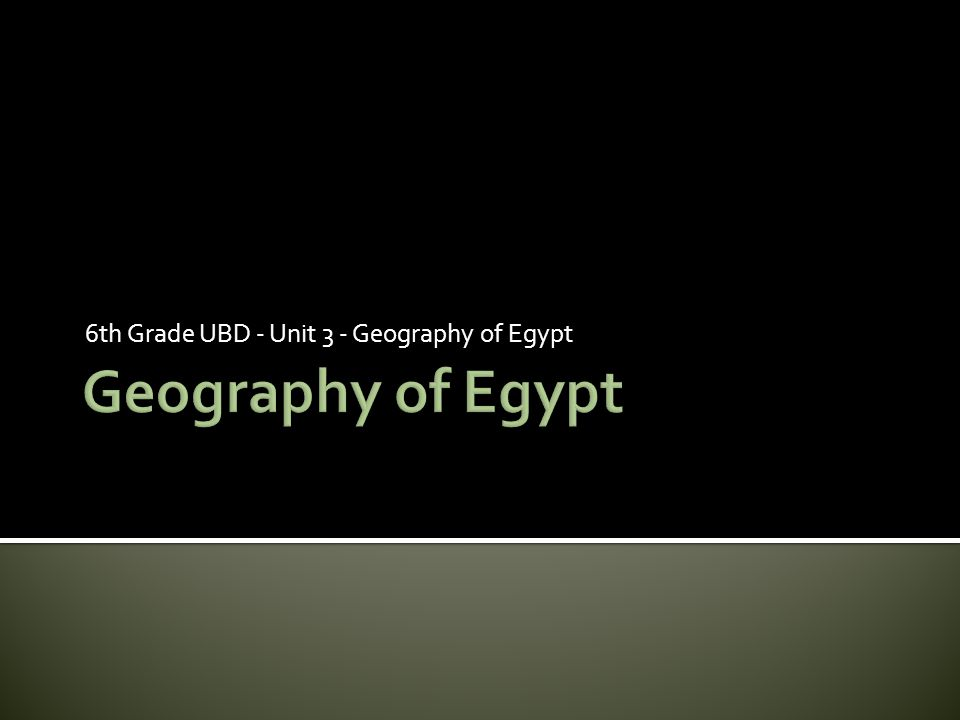 6th Grade UBD - Unit 3 - Geography of Egypt