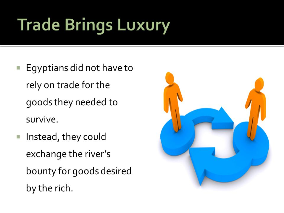 Trade Brings Luxury Egyptians did not have to rely on trade for the goods they needed to survive.