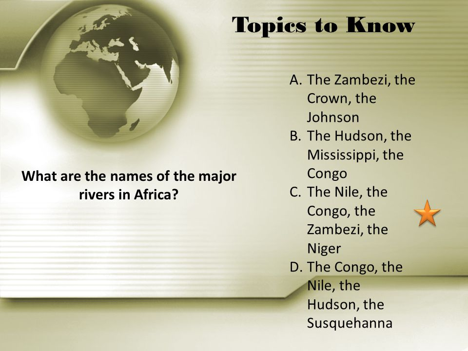 What are the names of the major rivers in Africa