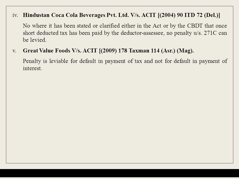 iv. Hindustan Coca Cola Beverages Pvt. Ltd. V/s