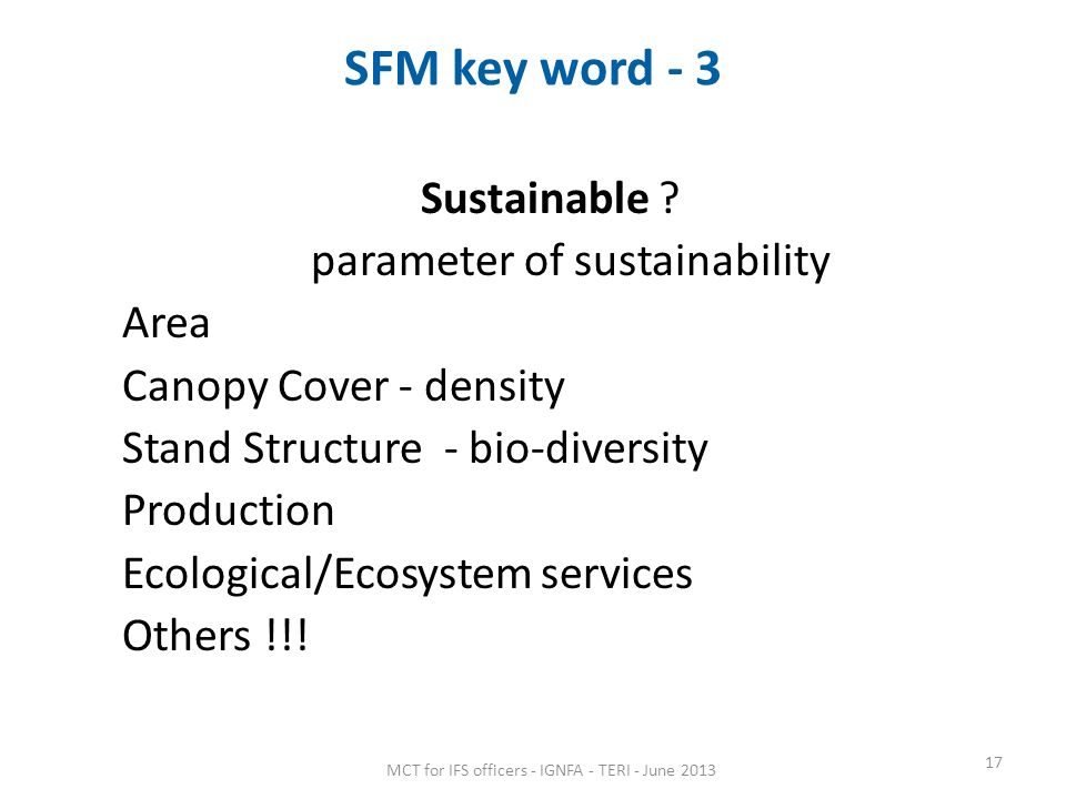 SFM key word - 3 Sustainable parameter of sustainability Area