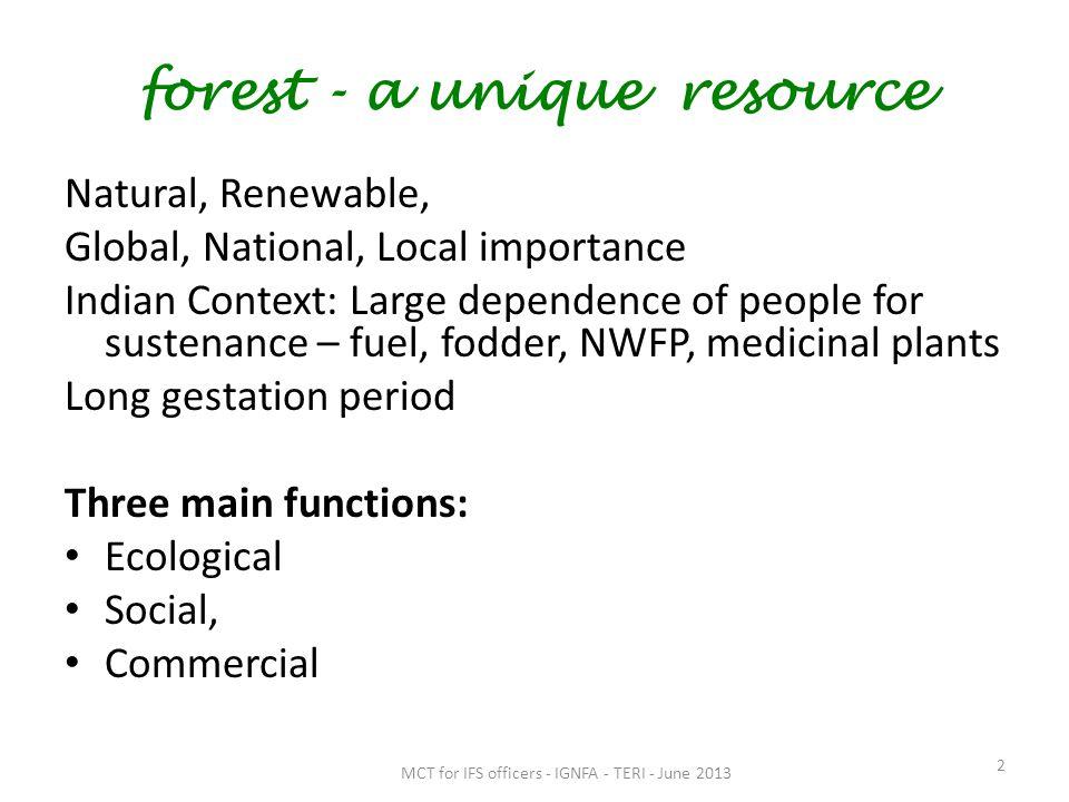 forest - a unique resource