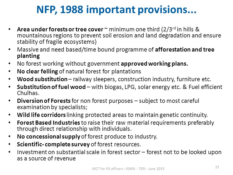 NFP, 1988 important provisions...