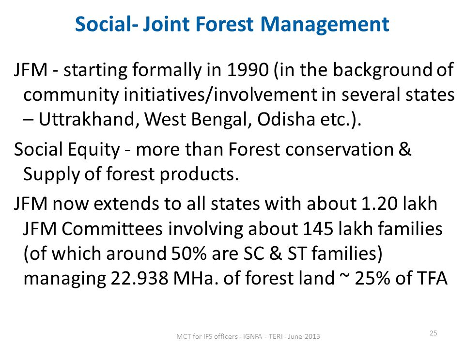 Social- Joint Forest Management
