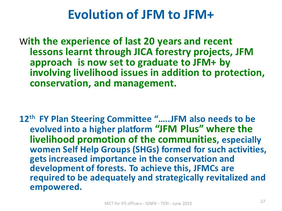 Evolution of JFM to JFM+