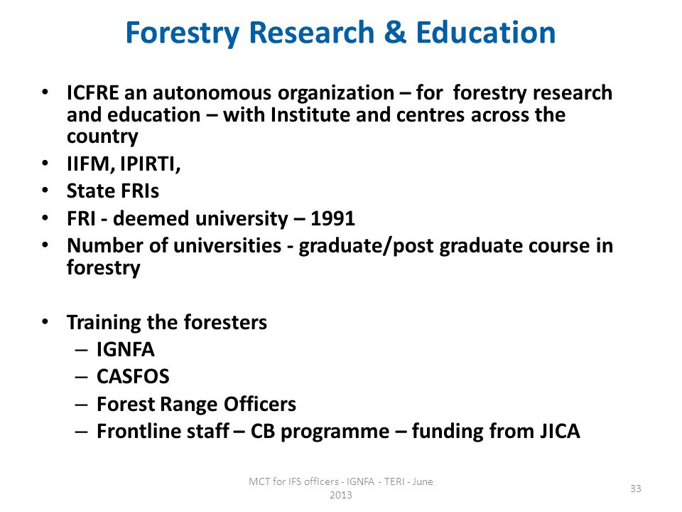 Forestry Research & Education