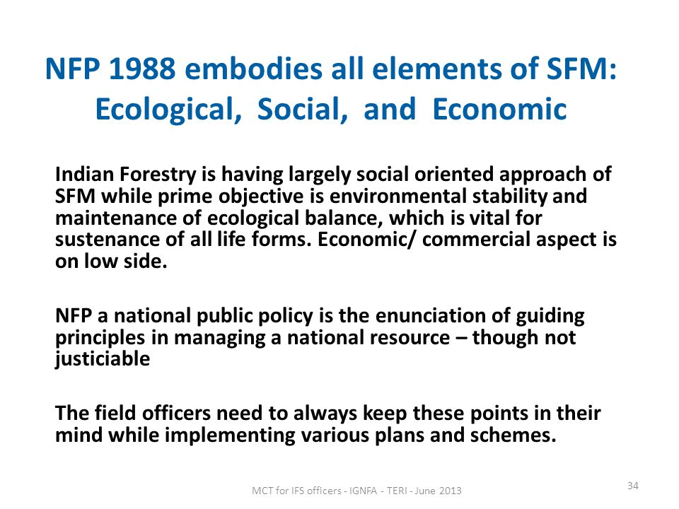NFP 1988 embodies all elements of SFM: