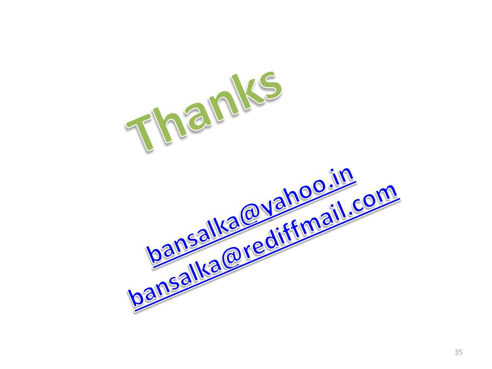 Thanks bansalka@yahoo.in bansalka@rediffmail.com