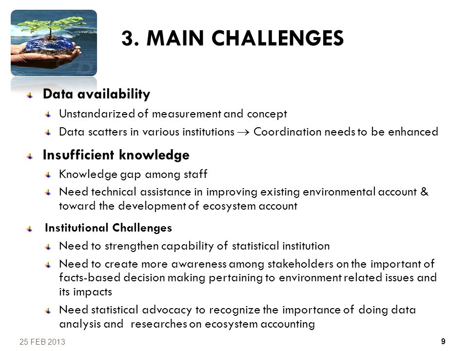 3. MAIN CHALLENGES Data availability Insufficient knowledge