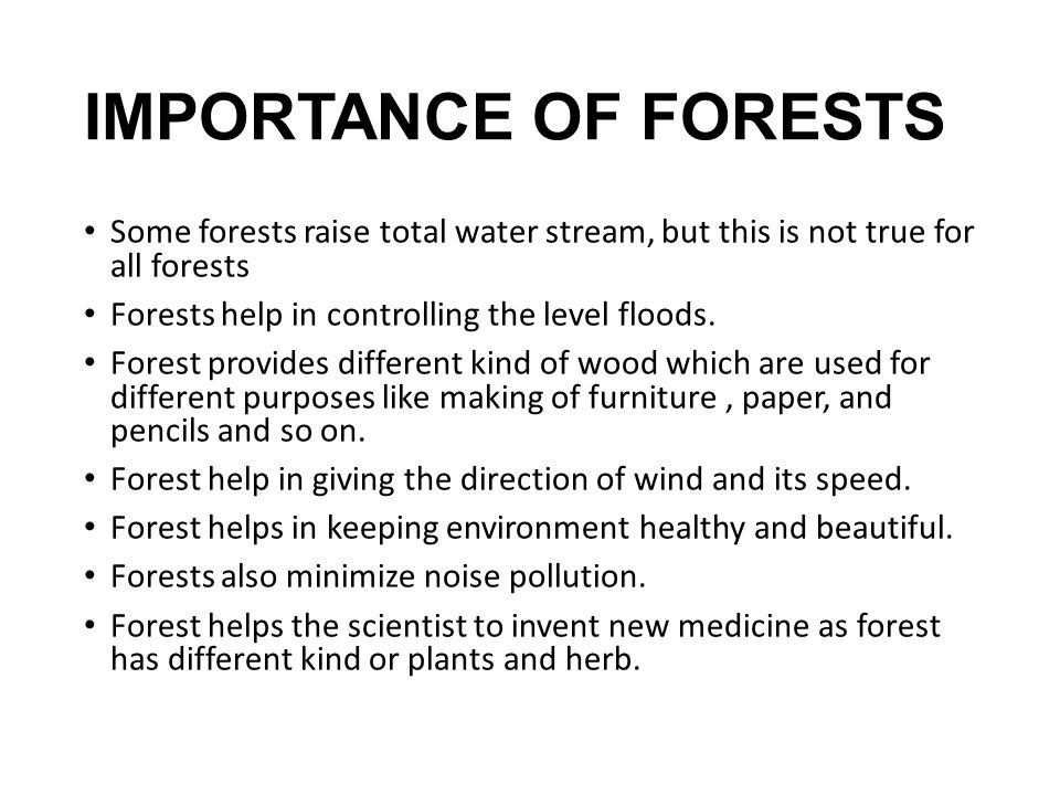 IMPORTANCE OF FORESTS Some forests raise total water stream, but this is not true for all forests.