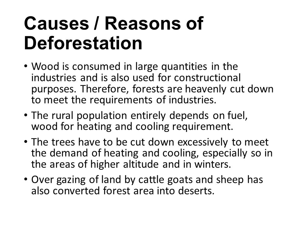 Causes / Reasons of Deforestation