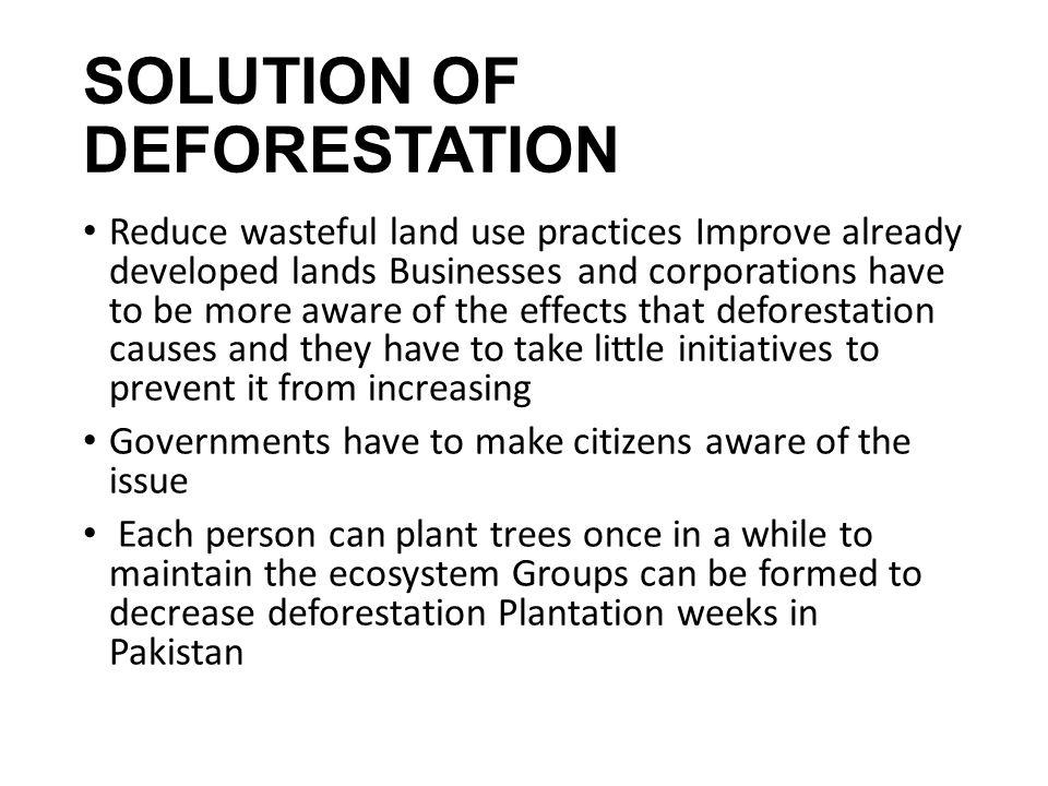 SOLUTION OF DEFORESTATION