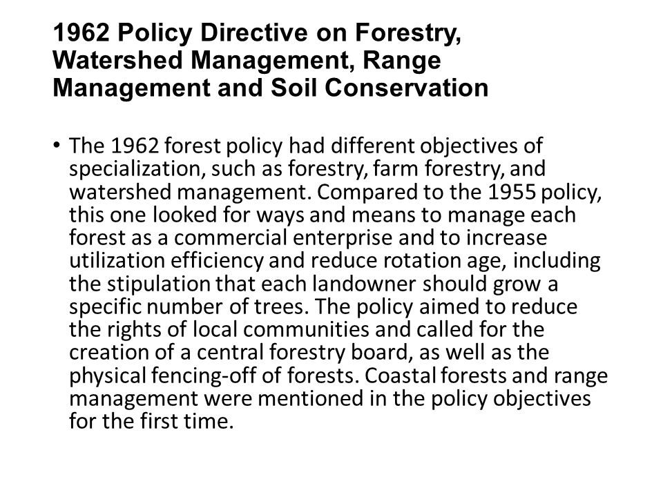 1962 Policy Directive on Forestry, Watershed Management, Range Management and Soil Conservation