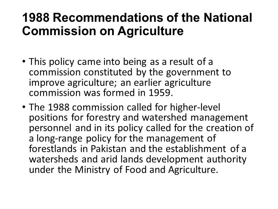 1988 Recommendations of the National Commission on Agriculture