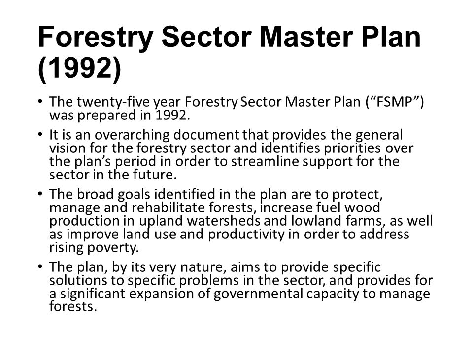 Forestry Sector Master Plan (1992)
