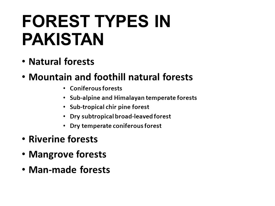 FOREST TYPES IN PAKISTAN