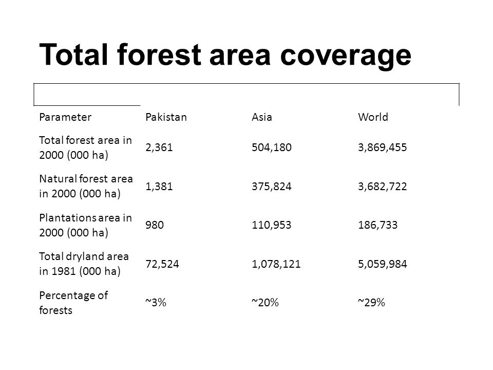 Total forest area coverage