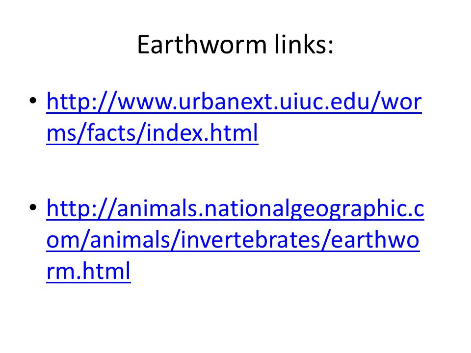 Earthworm links: http://www.urbanext.uiuc.edu/worms/facts/index.html
