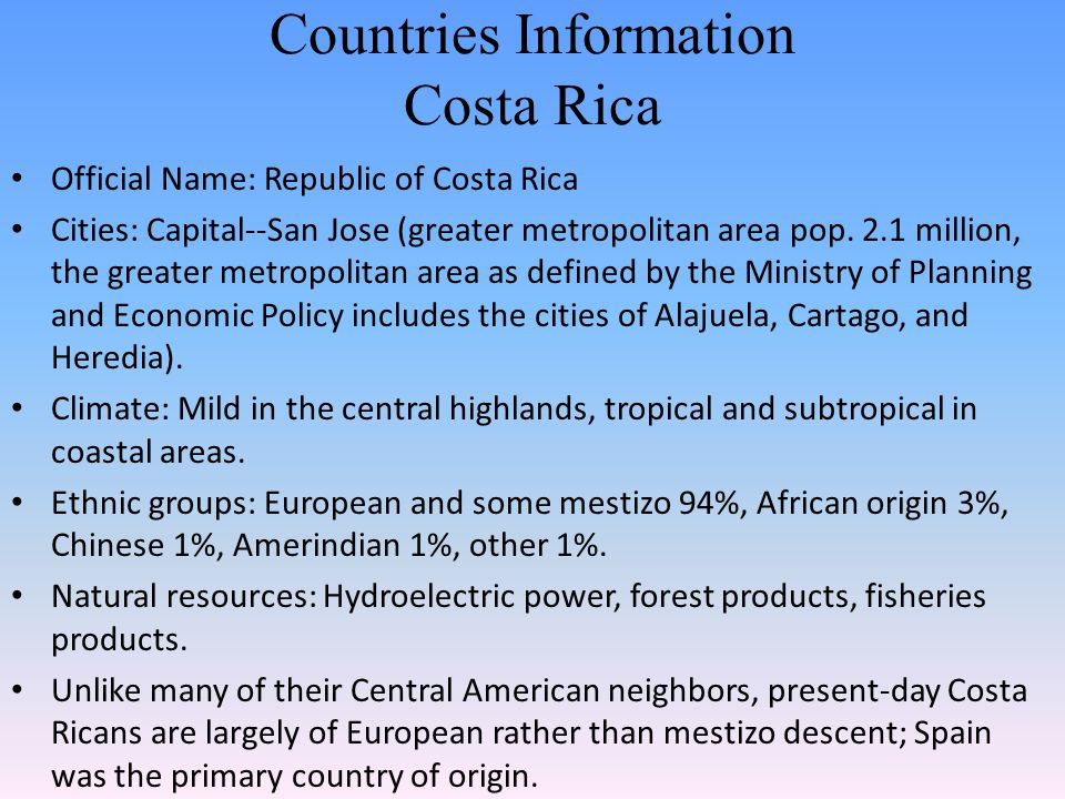 Countries Information Costa Rica