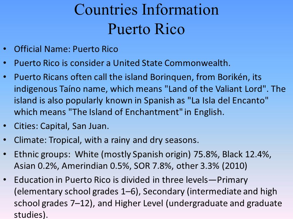 Countries Information Puerto Rico