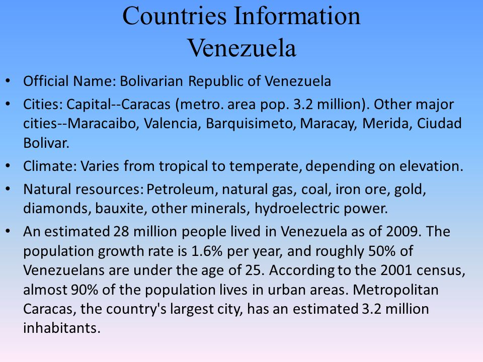 Countries Information Venezuela