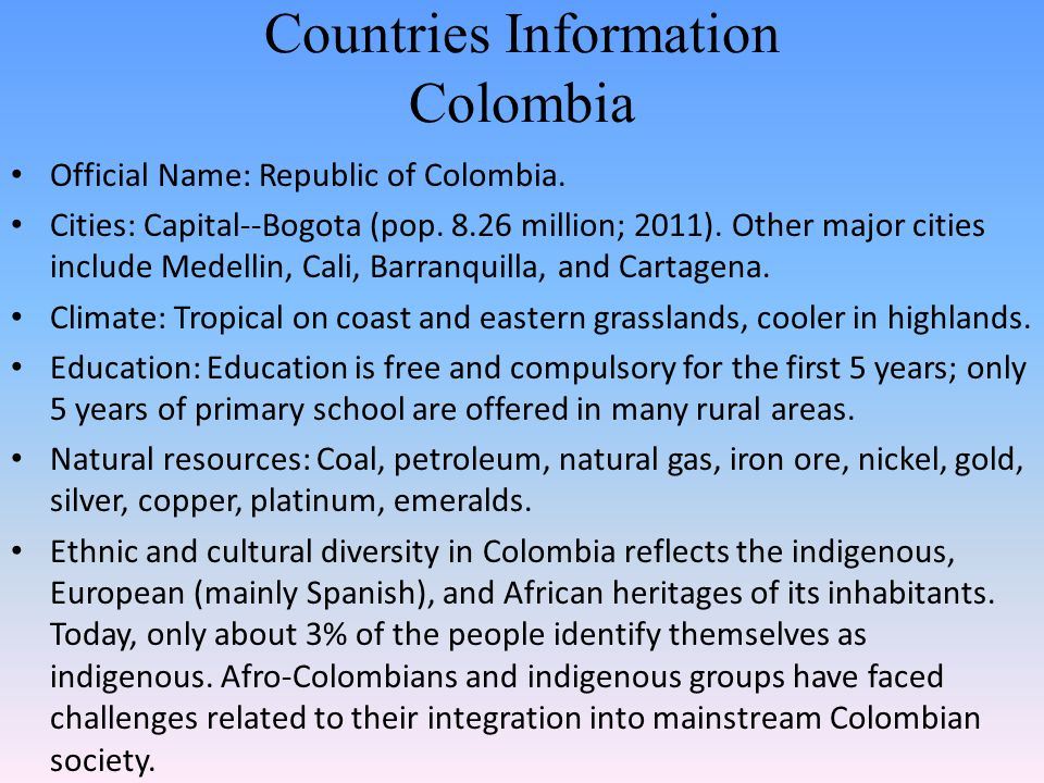 Countries Information Colombia