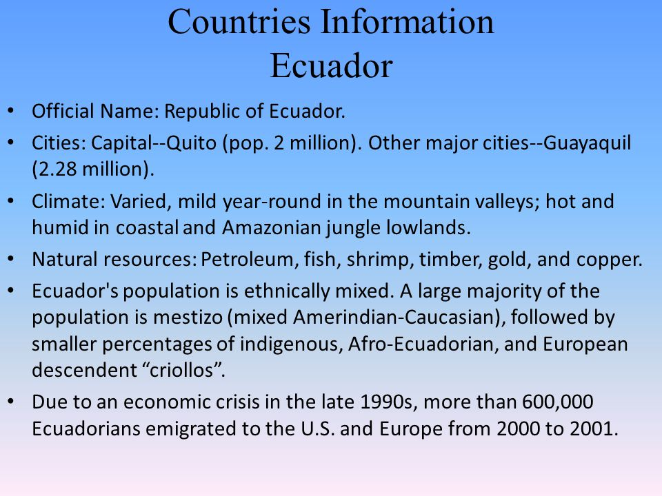 Countries Information Ecuador