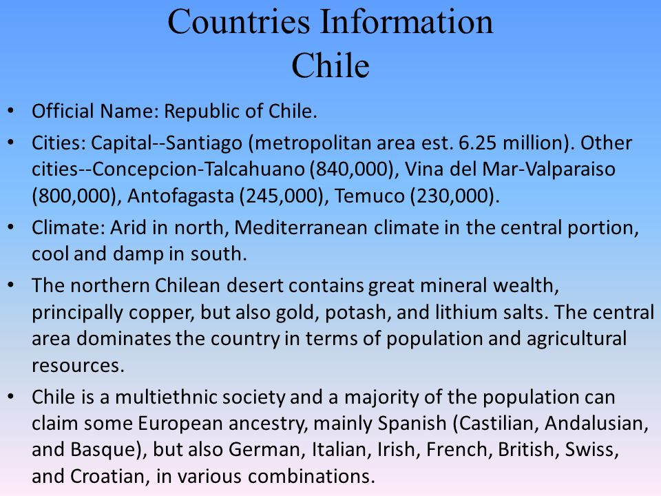 Countries Information Chile