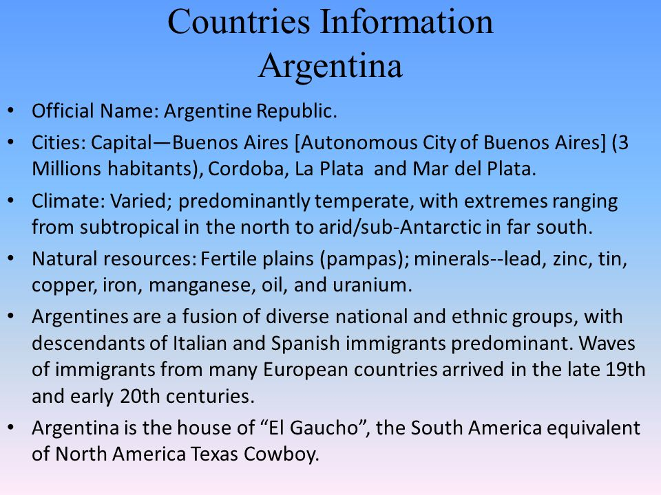 Countries Information Argentina