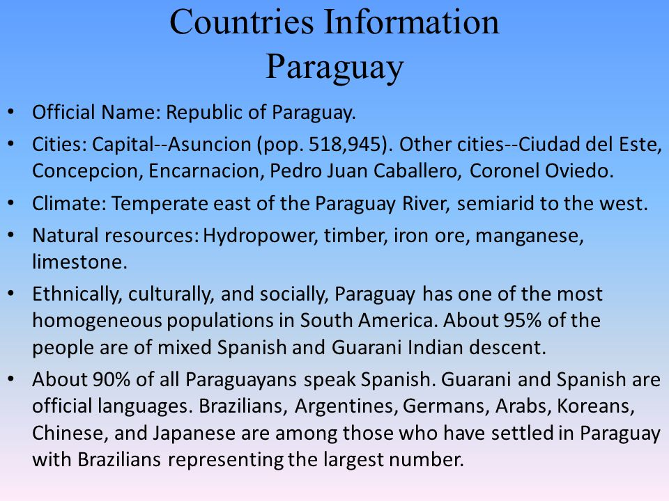 Countries Information Paraguay