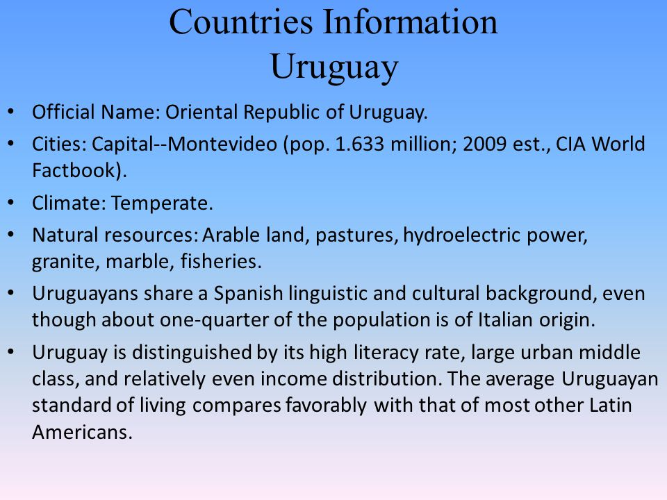 Countries Information Uruguay