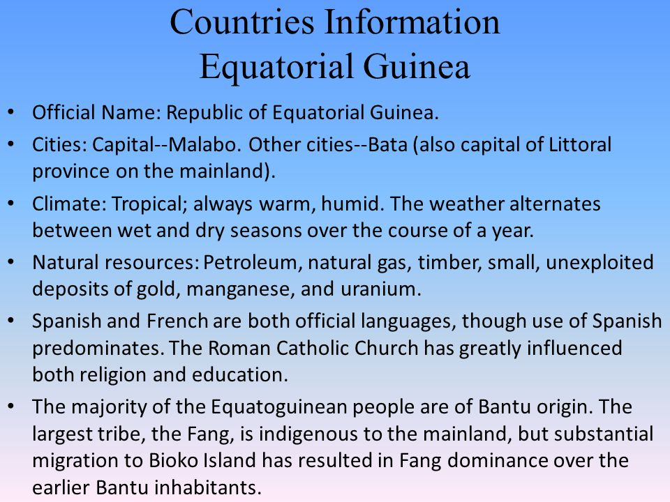 Countries Information Equatorial Guinea