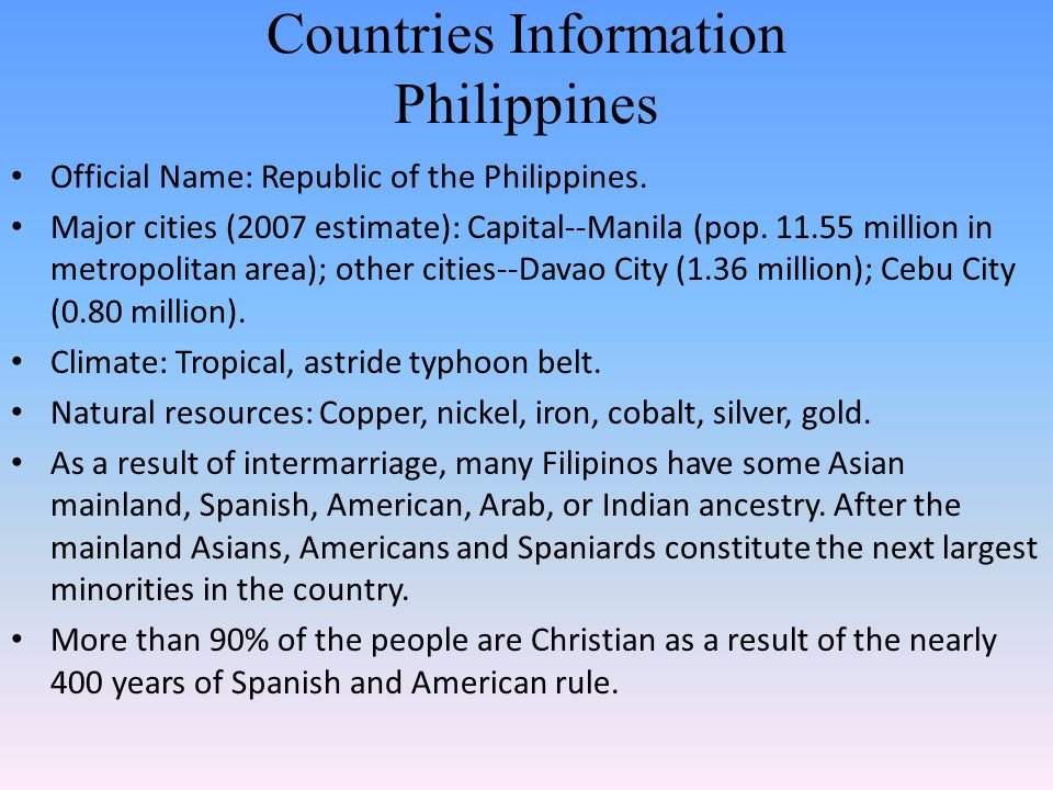 Countries Information Philippines