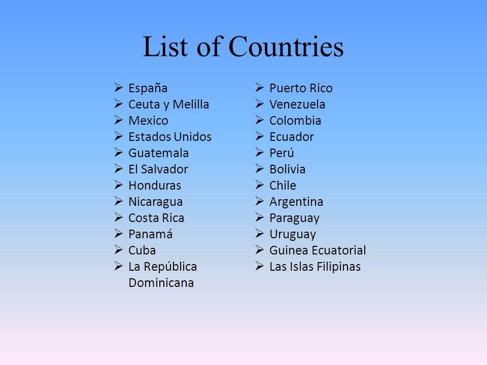 List of Countries España Puerto Rico Ceuta y Melilla Venezuela Mexico