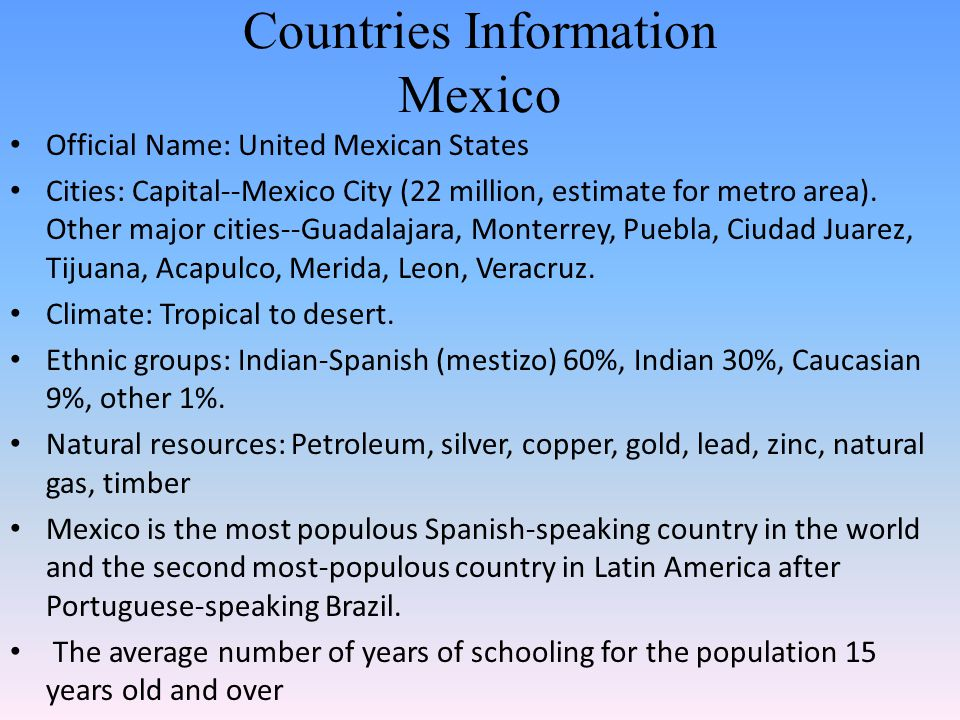 Countries Information Mexico