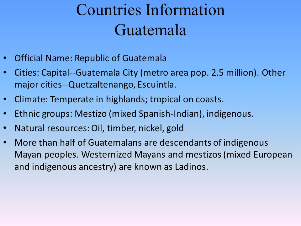 Countries Information Guatemala