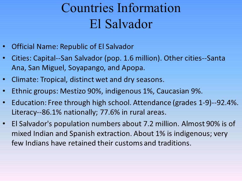 Countries Information El Salvador