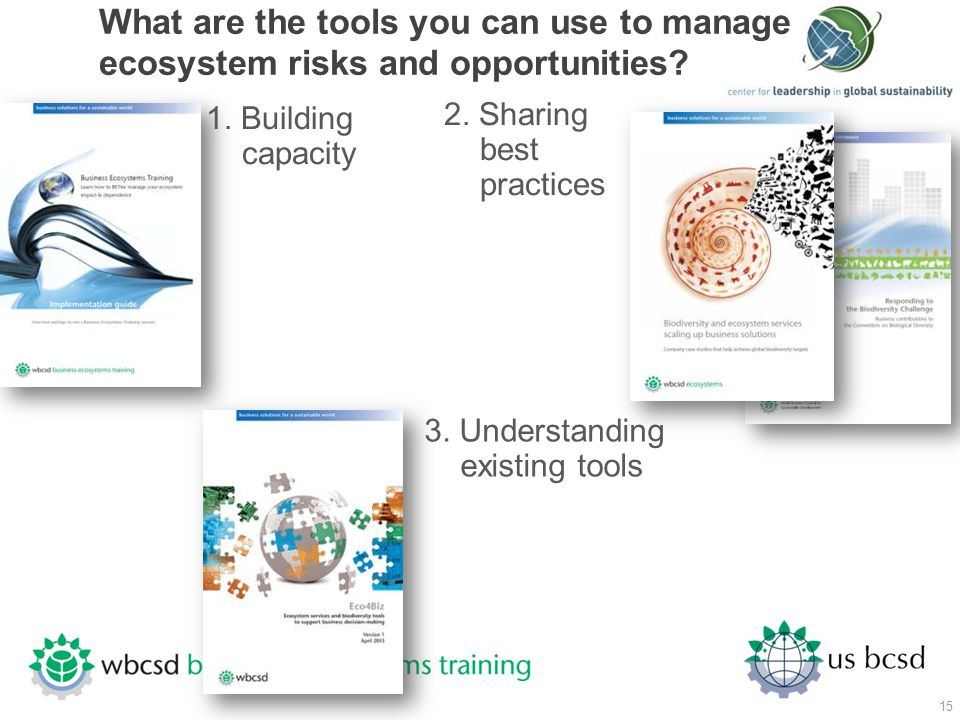 What are the tools you can use to manage ecosystem risks and opportunities