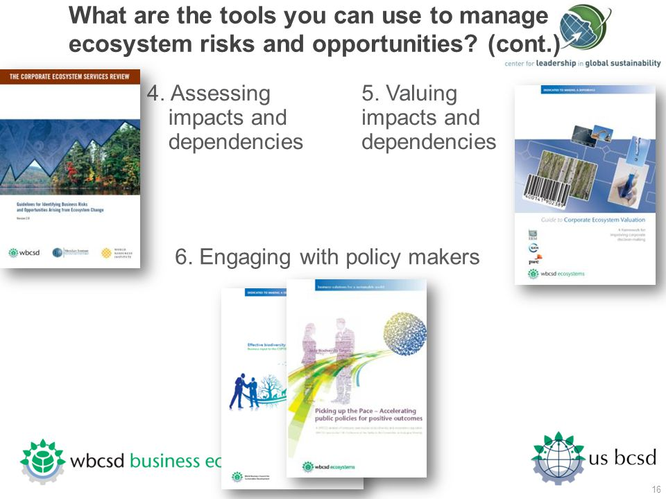 What are the tools you can use to manage ecosystem risks and opportunities (cont.)