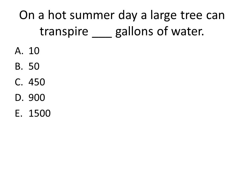 On a hot summer day a large tree can transpire ___ gallons of water.