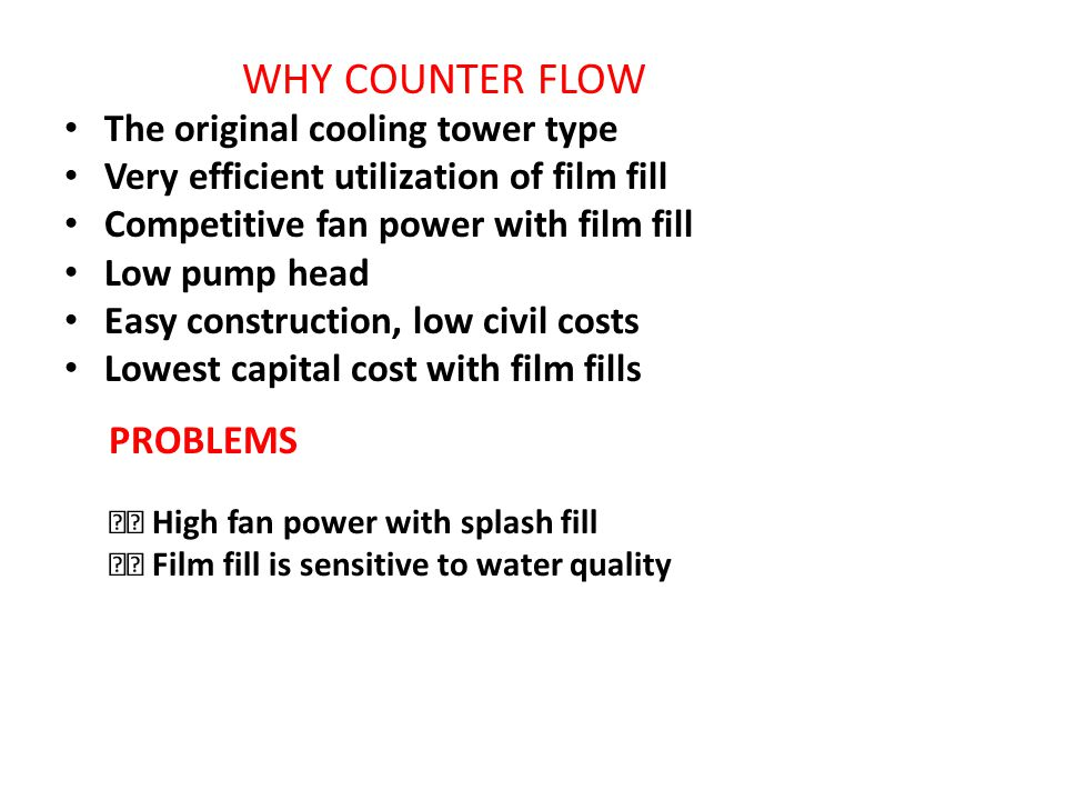 WHY COUNTER FLOW PROBLEMS The original cooling tower type