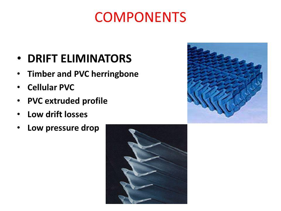 COMPONENTS DRIFT ELIMINATORS Timber and PVC herringbone Cellular PVC