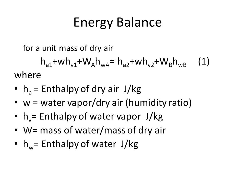 Energy Balance for a unit mass of dry air