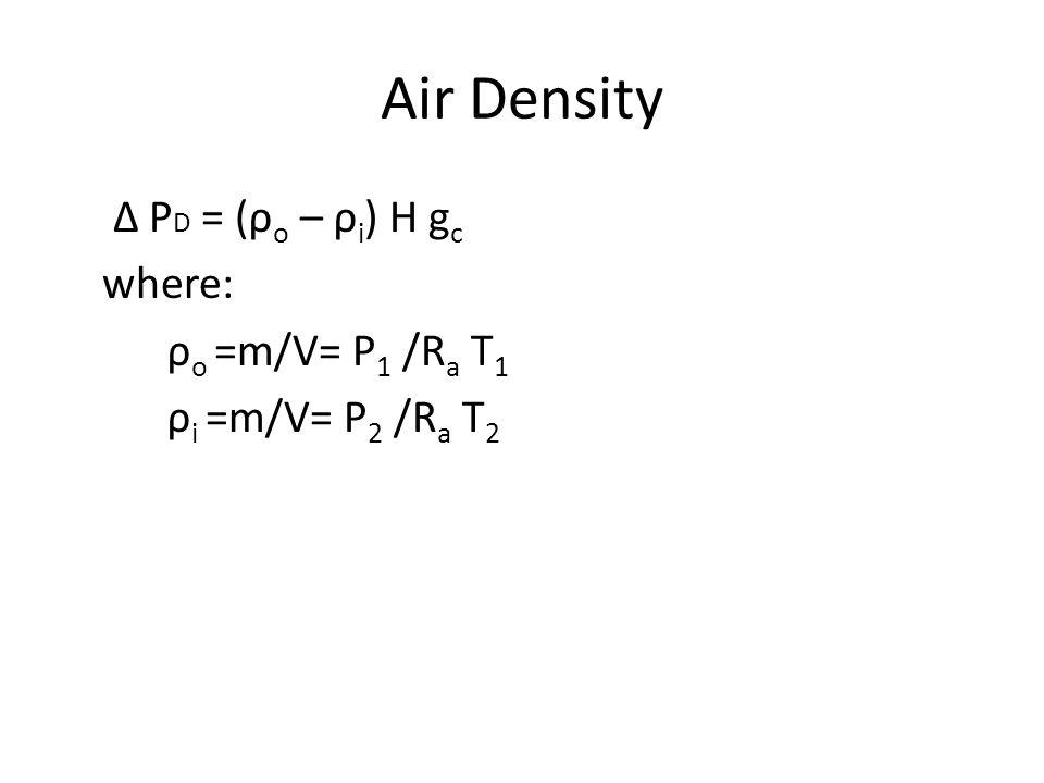 Air Density Δ PD = (ρo – ρi) H gc where: ρo =m/V= P1 /Ra T1