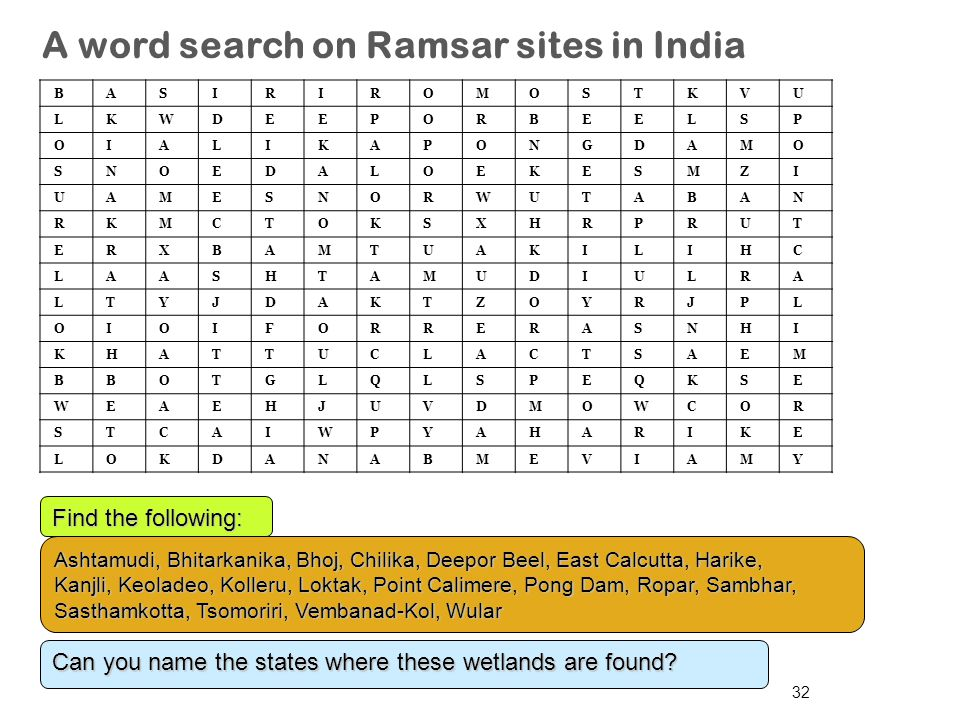 A word search on Ramsar sites in India