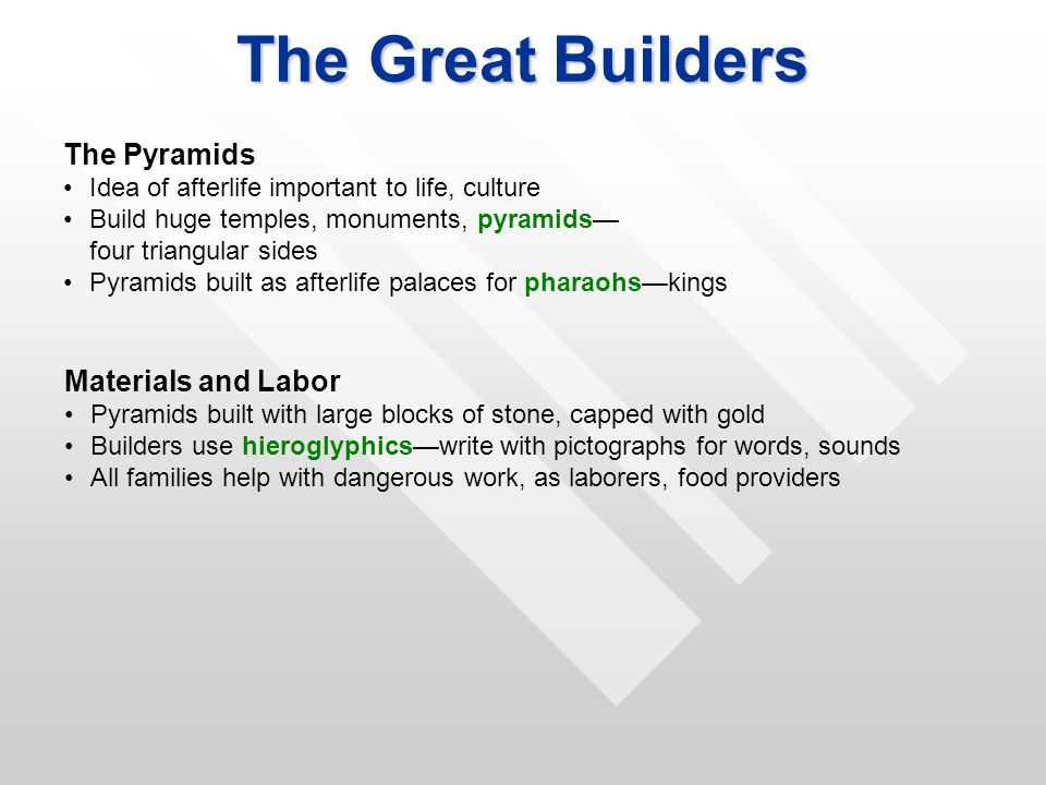 The Great Builders The Pyramids Materials and Labor