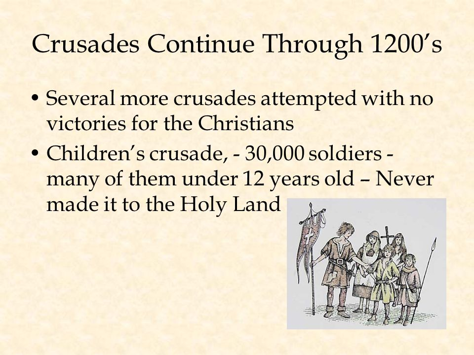 Crusades Continue Through 1200's